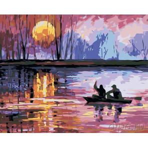 Двое в лодке Раскраска картина по номерам на холсте LA21