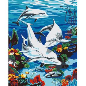 Дельфины в море Раскраска картина по номерам на холсте KRYM-AN18