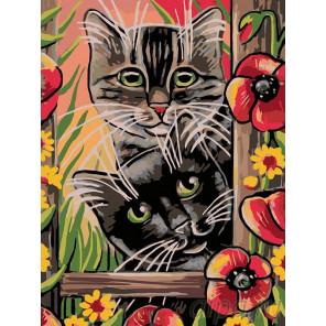 Котята в саду Раскраска картина по номерам на холсте A138
