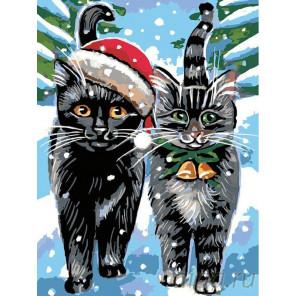 Рождественские котики Раскраска картина по номерам на холсте A163