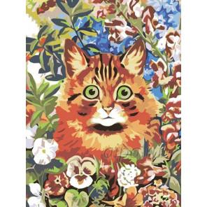 Котик в саду Раскраска картина по номерам на холсте RA009