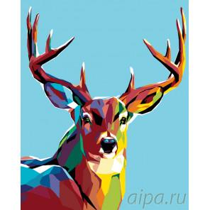 Схема Радужный олень Раскраска по номерам на холсте Живопись по номерам A362