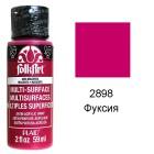 2898 Фуксия Для любой поверхности Сатиновая акриловая краска Multi-Surface Folkart Plaid