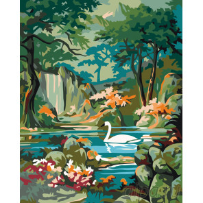 Лебедь в горном озере Раскраска по номерам на холсте Живопись по номерам PP12