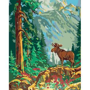 Схема Лось в лесу Раскраска по номерам на холсте Живопись по номерам PP13