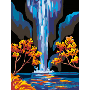 Золотые листья и водопад Раскраска по номерам на холсте Живопись по номерам RA086