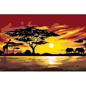Схема Африканская жизнь Раскраска по номерам на холсте Живопись по номерам RA161