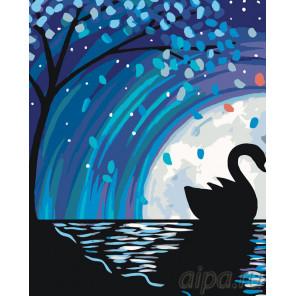 Лебедь в лунном сиянии Раскраска по номерам на холсте Живопись по номерам RA190