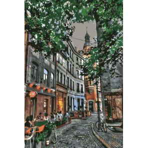 Уютная улочка Риги Раскраска по номерам на холсте Живопись по номерам LV28