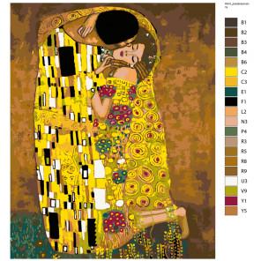 Раскладка Золотой поцелуй Раскраска по номерам на холсте Живопись по номерам ARTH-Klimt
