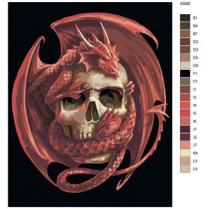 Схема Власть дракона Раскраска по номерам на холсте Живопись по номерам AS06