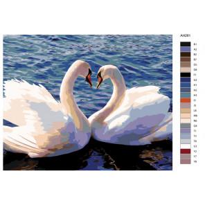 Раскладка Танец лебедей Раскраска по номерам на холсте Живопись по номерам ARTH-AH281