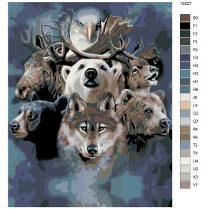 Схема Братство леса Раскраска по номерам на холсте Живопись по номерам KTMK-10527
