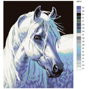 Раскладка Породистая лошадь Раскраска по номерам на холсте Живопись по номерам KTMK-66514
