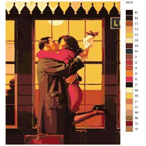 Раскладка Поцелуй при встрече Раскраска по номерам на холсте Живопись по номерам VE10