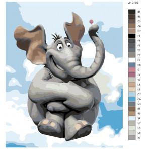 Раскладка Довольный слон Раскраска по номерам на холсте Живопись по номерам Z-Z10160