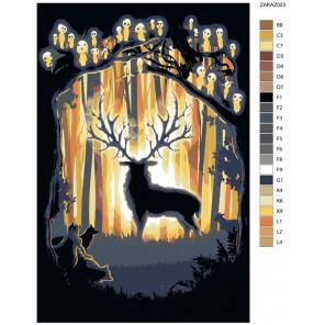 Схема Лесной гость Раскраска по номерам на холсте Живопись по номерам ZAKAZ023