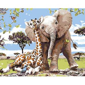 Слоненок с другом Раскраска картина по номерам на холсте KTMK-KTMK-37215