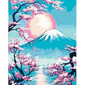 Закат над горой Фудзи Раскраска картина по номерам на холсте RA223