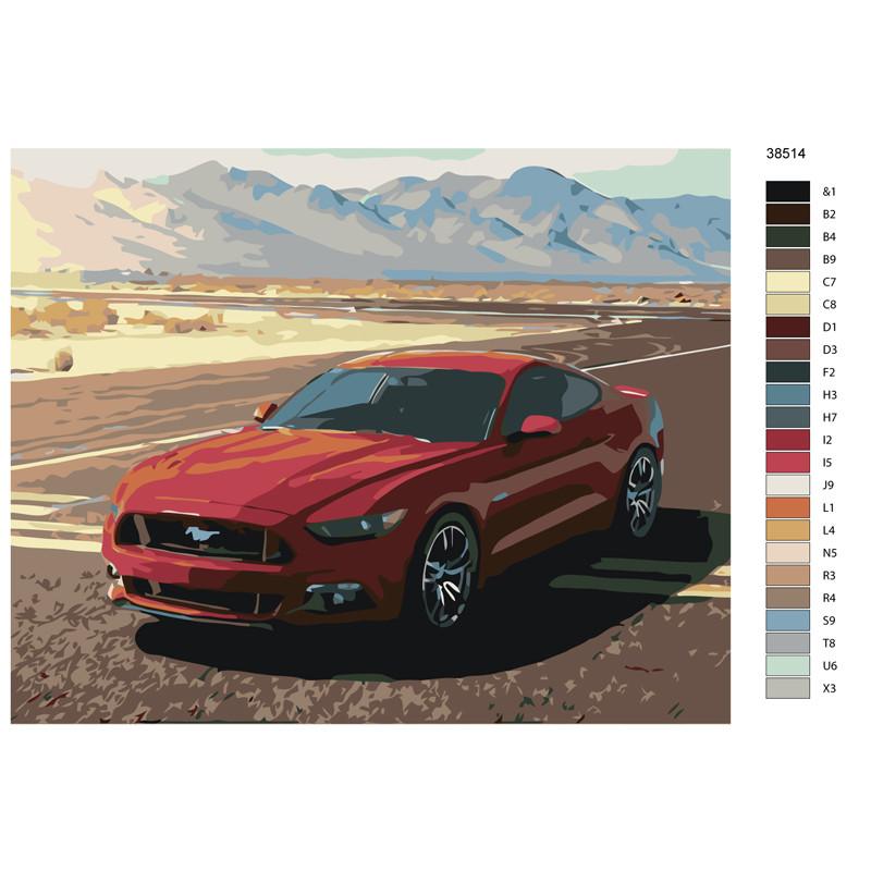 Ktmk 38514 красный мустанг раскраска картина по номерам на