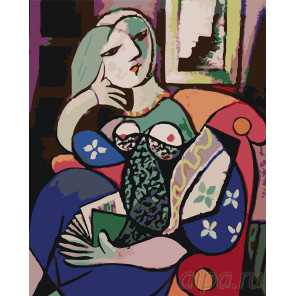 раскладка Женщина с книгой Раскраска картина по номерам на холсте