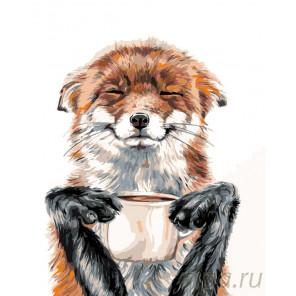 Лисичка с кофе Раскраска картина по номерам на холсте A471