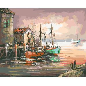 Рыбацкие лодки Раскраска картина по номерам на холсте KTMK-95638