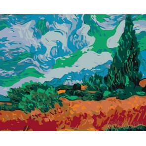 Раскладка Поле с кипарисами Раскраска по номерам на холсте Живопись по номерам KTMK-69657