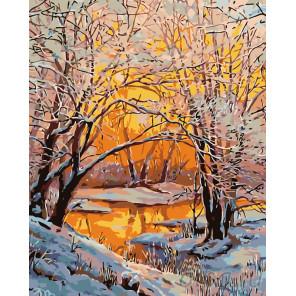 Раскладка Закат в зимнем лесу Раскраска по номерам на холсте Живопись по номерам KTMK-13096