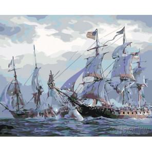 Морское сражение Раскраска по номерам на холсте Живопись по номерам KTMK-49875