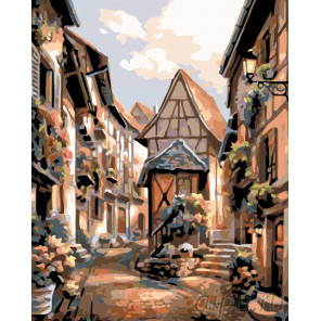 Улочка старой Европы Раскраска по номерам на холсте Живопись по номерам KTMK-33909