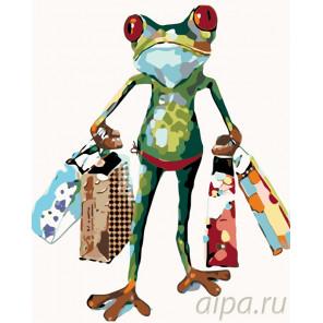 Лягушка с покупками Раскраска картина по номерам на холсте KTMK-32825442029