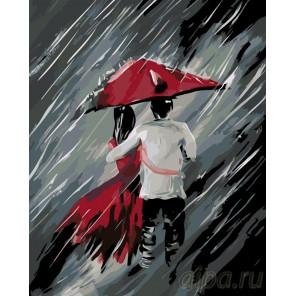 Пара под зонтом Раскраска по номерам на холсте Живопись по номерам RO87