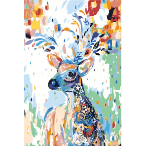 раскладка Олень в цветочном узоре Раскраска картина по номерам на холсте