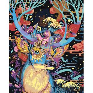 раскладка Олень в золотой маске Раскраска картина по номерам на холсте