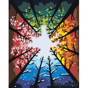 раскладка Цвета времен года Раскраска картина по номерам на холсте