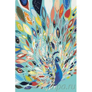 Павлин в ярких красках Раскраска картина по номерам на холсте A482