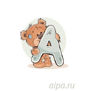 Медвеженок с буквой А Раскраска по номерам на холсте Живопись по номерам KTMK-454545