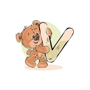 Медвежoнок с буквой VРаскраска по номерам на холсте Живопись по номерам KTMK-7897892