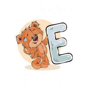 Медвежoнок с буквой E Раскраска по номерам на холсте Живопись по номерам KTMK-7897893