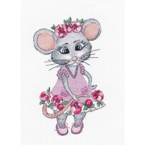 В рамке Мышка-вертихвостка Набор для вышивания Овен 1201
