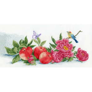 Яблоки и пионы Набор для вышивания Золотое Руно ОЛ-013