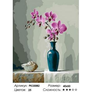 Сложность и количество цветов Орхидея и ракушка Раскраска картина по номерам на холсте PK33082