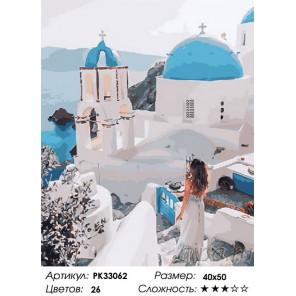 Сложность и количество цветов Виды Греции Раскраска картина по номерам на холсте PK33062
