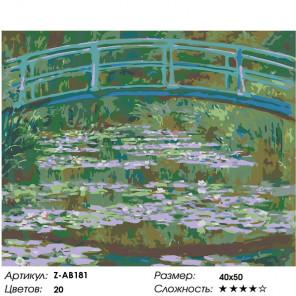 Сложность и количество цветов Мост и кувшинки Раскраска картина по номерам на холсте Z-AB181