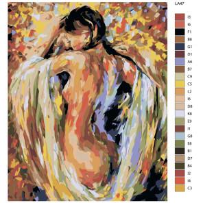 раскладка Девушка (репродукция Леонида Афремова) Раскраска по номерам на холсте Живопись по номерам