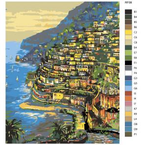 Схема Огни Positano, Италия (художник Robert Finale) Раскраска по номерам на холсте Живопись по номерам