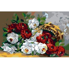 Корзинка с розами Раскраска картина по номерам на холсте KRYM-FL003