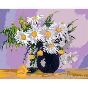 Раскладка Букет ромашек Раскраска картина по номерам на холсте KRYM-FL04