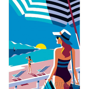 На пляже Раскраска картина по номерам на холсте PA62
